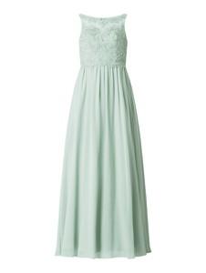 Miętowa sukienka Laona z szyfonu bez rękawów z dekoltem w kształcie litery v