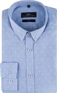 Niebieska koszula Giacomo Conti z długim rękawem z tkaniny
