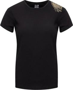 Czarny t-shirt Emporio Armani z okrągłym dekoltem w stylu casual z krótkim rękawem