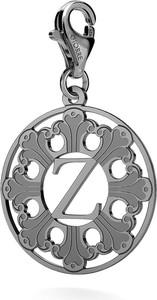GIORRE SREBRNY CHARMS ROZETA Z LITERĄ 925 : Kolor pokrycia srebra - Pokrycie Czarnym Rodem, Litera - Z