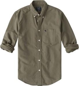 Zielona koszula Abercrombie & Fitch z bawełny z kołnierzykiem button down w stylu casual