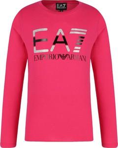 Różowa bluzka dziecięca EA7 Emporio Armani z długim rękawem