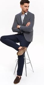 Granatowe spodnie Top Secret z tkaniny