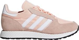Różowe buty sportowe Adidas sznurowane z zamszu