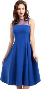 Granatowa sukienka MOE z tiulu bez rękawów midi