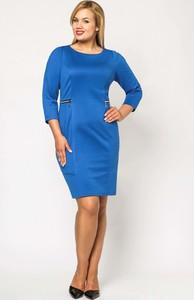 Niebieska sukienka sukienki.pl ołówkowa z długim rękawem