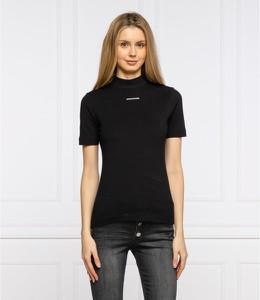 Czarna bluzka Calvin Klein w stylu casual z okrągłym dekoltem