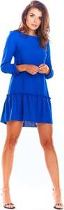Niebieska sukienka Awama mini z okrągłym dekoltem trapezowa