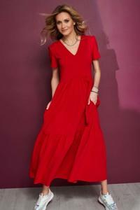 Sukienka Makadamia z krótkim rękawem maxi z bawełny