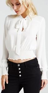 Bluzka Guess z długim rękawem z tkaniny