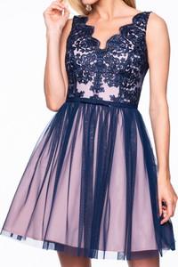 Granatowa sukienka Premiera Dona z tiulu
