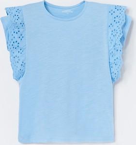 Turkusowa koszulka dziecięca Reserved z bawełny z krótkim rękawem