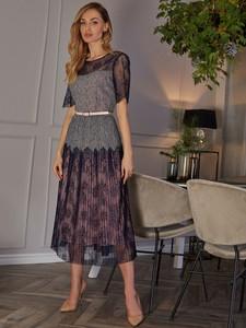 Granatowa sukienka POTIS & VERSO z szyfonu
