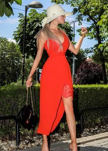 Sukienka Ivet.pl midi na ramiączkach asymetryczna