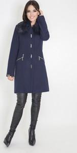 Granatowy płaszcz Marcelini z wełny
