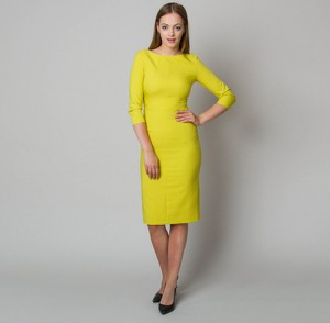 Żółta sukienka Willsoor midi z długim rękawem z tkaniny