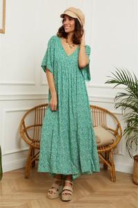 Zielona sukienka L'armoire De Suzette maxi z dekoltem w kształcie litery v z krótkim rękawem