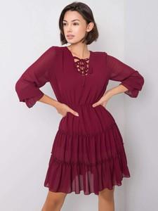 Czerwona sukienka Sheandher.pl mini w stylu casual z długim rękawem