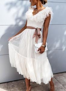 Sukienka Sandbella na ramiączkach z tiulu hiszpanka
