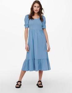 Sukienka Only z krótkim rękawem z okrągłym dekoltem z bawełny