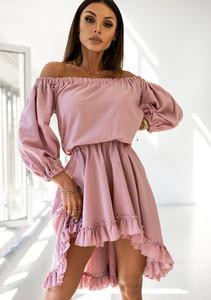 Różowa sukienka Latika mini hiszpanka z bawełny