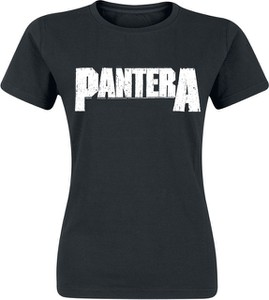 Czarny t-shirt Pantera z okrągłym dekoltem w młodzieżowym stylu