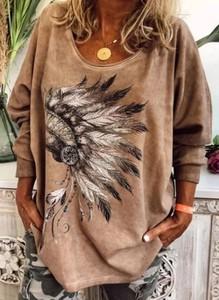 Brązowa bluzka Cikelly z okrągłym dekoltem
