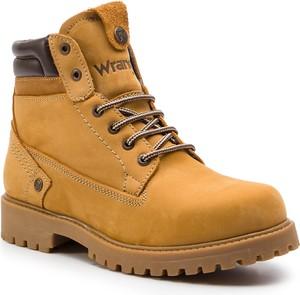 Żółte buty zimowe Wrangler sznurowane z zamszu