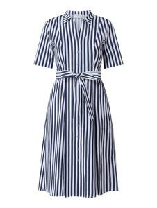 Niebieska sukienka Robe Légère midi z bawełny z dekoltem w kształcie litery v