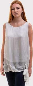 Bluzka Szachownica w stylu casual z okrągłym dekoltem bez rękawów