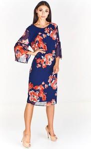 Sukienka Fokus z okrągłym dekoltem midi z długim rękawem