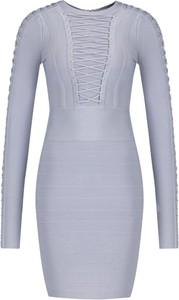 Niebieska sukienka Marciano dopasowana z długim rękawem
