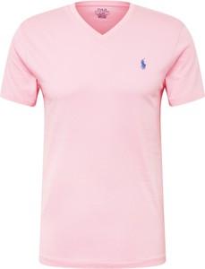 Różowy t-shirt POLO RALPH LAUREN z krótkim rękawem z bawełny w stylu casual