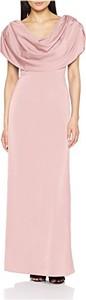 Różowa sukienka Gina Bacconi z krótkim rękawem maxi