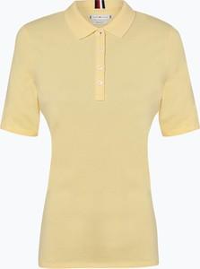 Żółty t-shirt Tommy Hilfiger w stylu casual z kołnierzykiem z bawełny