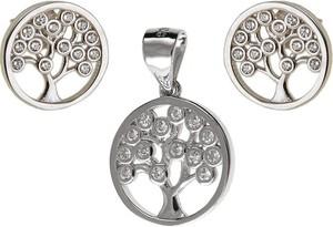 Valerio Delikatny rodowany srebrny komplet drzewo życia białe cyrkonie srebro 925 Z0667