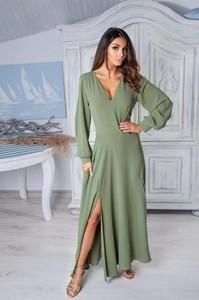 Zielona sukienka Paris z dekoltem w kształcie litery v