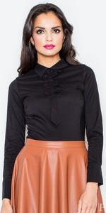 Granatowa bluzka Figl z bawełny z długim rękawem