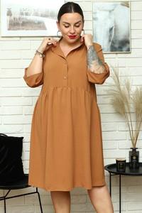Brązowa sukienka KARKO dla puszystych z długim rękawem w stylu casual