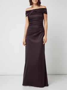 Fioletowa sukienka Christian Berg Cocktail hiszpanka z krótkim rękawem