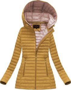 Libland pikowana kurtka z kapturem musztardowa (7218big)