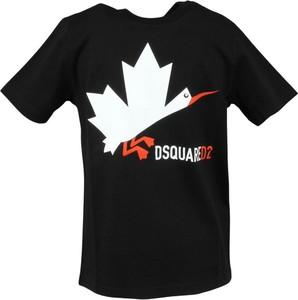 Czarna bluzka dziecięca Dsquared2 z krótkim rękawem dla chłopców
