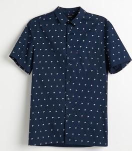 Granatowa koszula Reserved z krótkim rękawem z nadrukiem
