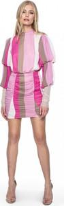 Różowa sukienka L'AF z długim rękawem mini