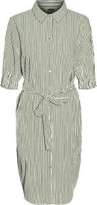 Sukienka WARESHOP z długim rękawem w stylu casual z kołnierzykiem