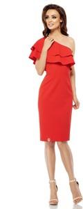 Czerwona sukienka Inna hiszpanka z krótkim rękawem