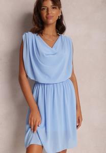 Niebieska sukienka Renee trapezowa w stylu casual mini