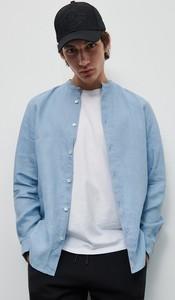 Niebieska koszula Reserved z długim rękawem z lnu