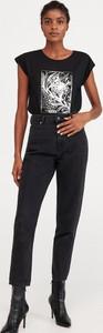 Czarny t-shirt Reserved z krótkim rękawem w młodzieżowym stylu