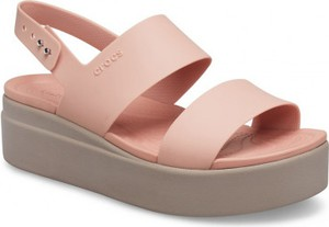Różowe sandały Crocs w stylu casual z klamrami na platformie